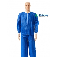 Quality 20-60 GSM SMS Non Woven Lab Coat waterproof Without Pocket for sale