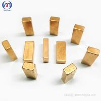 Quality Block magnets with brass color for sale