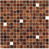 Brown with silver gold 20mm glass mosaic mix patter decoration