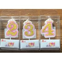 Quality White Candle  Gold painting and Pink line with Cute Crown Number Birthday Candles 0-9 for sale