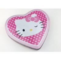 Quality Kids Toy Storage Heart Shaped Metal Tins Custom Logo , Pink Hello Kitty Design for sale