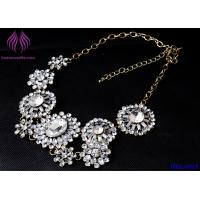 Quality Hot Fashion Retro Luxury Womens Clear Crystal Flower Choker Bib Necklace for sale