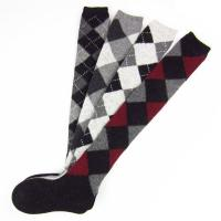 Quality Rabbit Wool Knee High Tube Socks For Girl With Rhombic Patern Wearing on Floor for sale