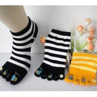 Quality Girls' Five Toe Socks With Beautiful Rubber Pattern On The Toe , Striped Five Toe Socks for sale