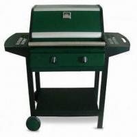 China Steel Double-burner Barbecue Gas Grill with Covered Steel Trolley, Measures 42 x 47cm on sale