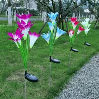 Buy Outdoor Solar Panel Garden Lights,Solar Powered Garden Stake Lights with 4 Lily Flower at wholesale prices