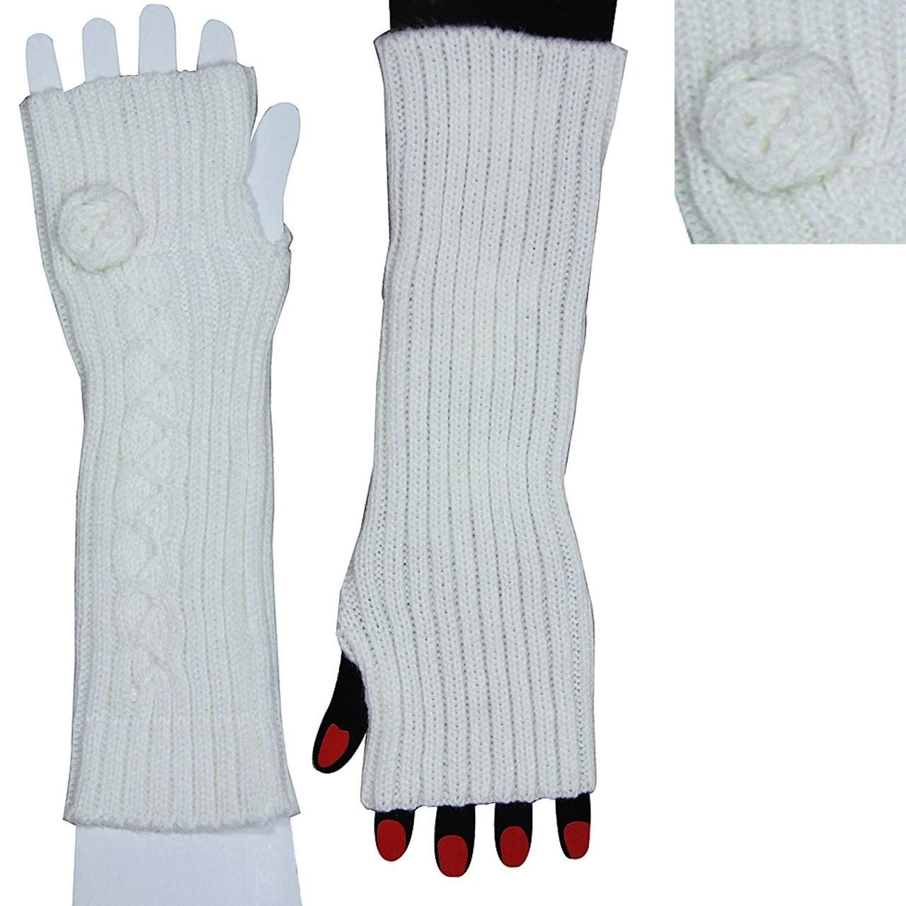 Quality 100% Acrylic White Fingerless Gloves Long Knitted Arm Warmer For Girls for sale
