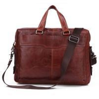 China Men's Classic Vintage Leather Chocolate Hand Tiny Laptop Bag Briefcase Messenger BAG on sale