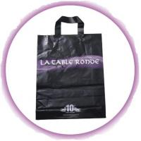 Quality Customized PP Ribbon Soft Loop Handle Bag With Square Bottom For Shopping for sale