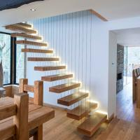 Quality Contemporary Floating Staircase with Wood Tread Invisible Stringer Straight Stairs for sale