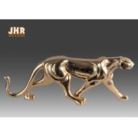 Quality Gold Leaf Polyresin Leopard Sculpture Fiber Glass Animal Table Statue Figurines for sale