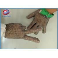 China Textile Strap Safety Metal Gloves With Five Fingers , 304L Chainmail Gloves on sale