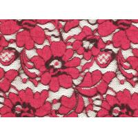 Quality Red Brushed Elastic Lace Fabric Eco Friendly 135cm Width OEM / OMD CY-LQ0001 for sale