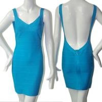 Quality Extreme sexy spaghetti strap backless blue short bodycon bandage dress for sale