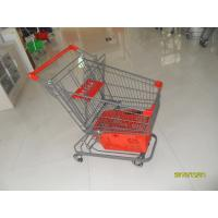 Quality 80L Supermarket Shopping Trolley With Grey Powder Coating And Shopping Basket for sale