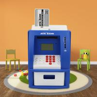 China ATM piggy bank for kids Blue/White Color USD currency recoginition ABS plastic with VIP bank card on sale