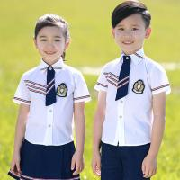 Quality Square Collar Polyester Kids School Uniform White Short Shirt For Girls And Boys for sale