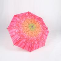 Quality Custom Manual Open Umbrella , Pink Flower Print 3 Fold Umbrella For Women for sale