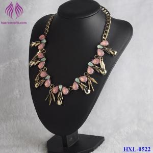 Quality Fashion Handmade Elegant Sweet Crystal Flower Waterdrop Pendant Gemstone Necklace for sale