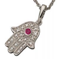 Quality CZ Stones Hamsa Hand Jewelry 925  Silver Hamsa Hand Themed Pendant for sale