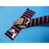 Quality Fashion Custom Purple Black Stripe Eco-friendly Long Fingerless Gloves, Knitted Arm Warmer for sale