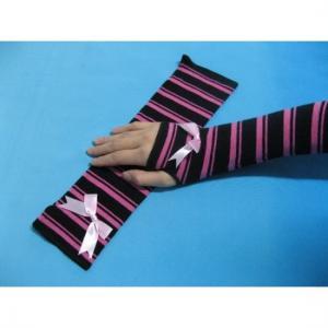 Quality Fashion Custom Purple Black Stripe Eco-friendly Long Fingerless Gloves, Knitted Arm Warmer for sale