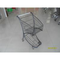 Quality 40L Steel Tube Airport Grocery Push Cart , Grocery Shopping Trolley With Advertisement Board for sale