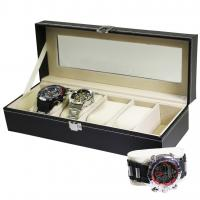 Quality Black Faux Leather 6-Watch Bracelet Display Case for sale