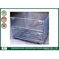Quality Folding wire storage bins industrial collapsible metal storage crate with wheels for sale