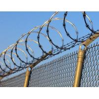 China Zinc Coated Galvanized Steel Chain Link Fence Application With Razor Barbed Wire on sale