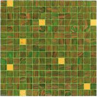 Quality Green tile with real gold 20mm glass mosaic mix patter decoration for sale