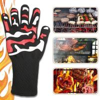 China 932F Heat Resistant Oven Gloves High Temperature 100% White Cotton Lining on sale