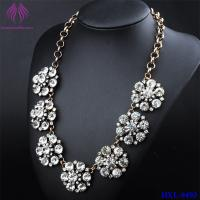 Quality Fashion vintage clear crystal flower bib statement necklace for sale