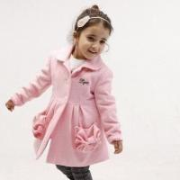 China Girls' Flannel Coat, Made of 50% Wool and 50% Polyester Materials, Customized Colors Welcomed on sale