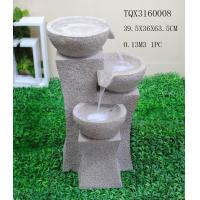 China Grey Garden Polyresin Water Fountain With Stone Effect 39 X 36.5 X 63.5 Cm on sale