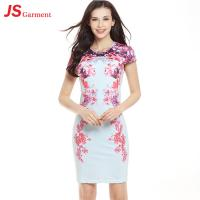 Quality 20739 New Style Short Sleeves Flower Printing Pack Hip Pencil Skirt Dress Sexy for sale
