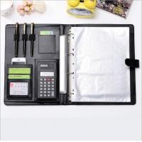China Office Supplies  PU Leather Ring Binder Meeting File Folder ,4 ring binder big A4 file folder with Calculator on sale