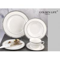 Quality Ceramic 20-Piece Kitchen Dinnerware Set, Plates, Bowls, Mugs, Service for 4,Silver with embossed for sale