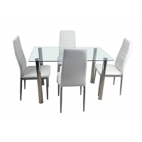 China Steel Frame Tempered Glass Dining Table With 4pcs Chairs on sale
