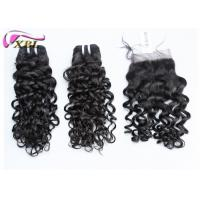 Buy Black Jerry Curl Brazilian Virgin Hair Extensions No Tangle With Lace Closure at wholesale prices
