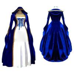 Quality Medieval Dress Wholesale XXS to XXXL Cosplaydiy Blue&White Victorian Medieval Renaissance Dress Cosplay Costume for sale