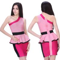 Quality Newest cultivate office ladies pink one shoulder short tight bandage dress for sale