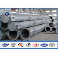 Quality Q345 steel utility poles 50 years Life Time , steel light pole with Base Plate/ Anchor Bolts / Climbing Rungs for sale