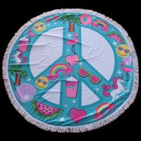 Quality New design promotional microfiber circular beach towel round beach towel for Christmas for sale