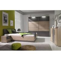 Mirrored Bedroom Furniture With Side Table , Mordern Bedroom Storage Furniture Sets