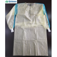 Quality AAMI 3 PP Coated PE Disposable Isolation Gowns With Knitted Cuff 40gsm for sale