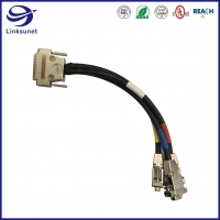 Quality Soldering Electrical Wire harness with DB25 add DB9 Male / Female PVC connector for sale