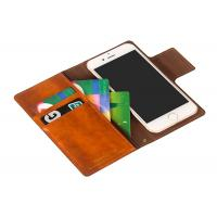 Quality Handmade Brown Leather Flip Wallet Case / Iphone 8 Plus Leather Case Custom for sale