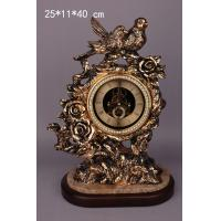 Quality polyresin two bird table clock for sale