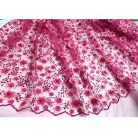 Quality Colored Handmade 3D Flower Lace Fabric , Scalloped Embroidered Mesh Lace Fabric for sale